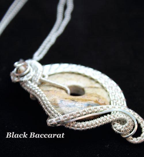 Collana con Ciondolo Wirewrapped in SilverFilled e Diaspro Paesaggio