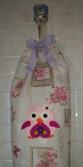 Porta buste porta sacchetti in stoffa con fiocco e gufo portafortuna in feltro