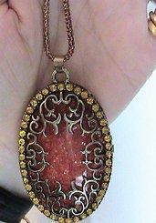 Collana donna ciondolo medaglione con vera ambra baltica pietra naturale e zirconi
