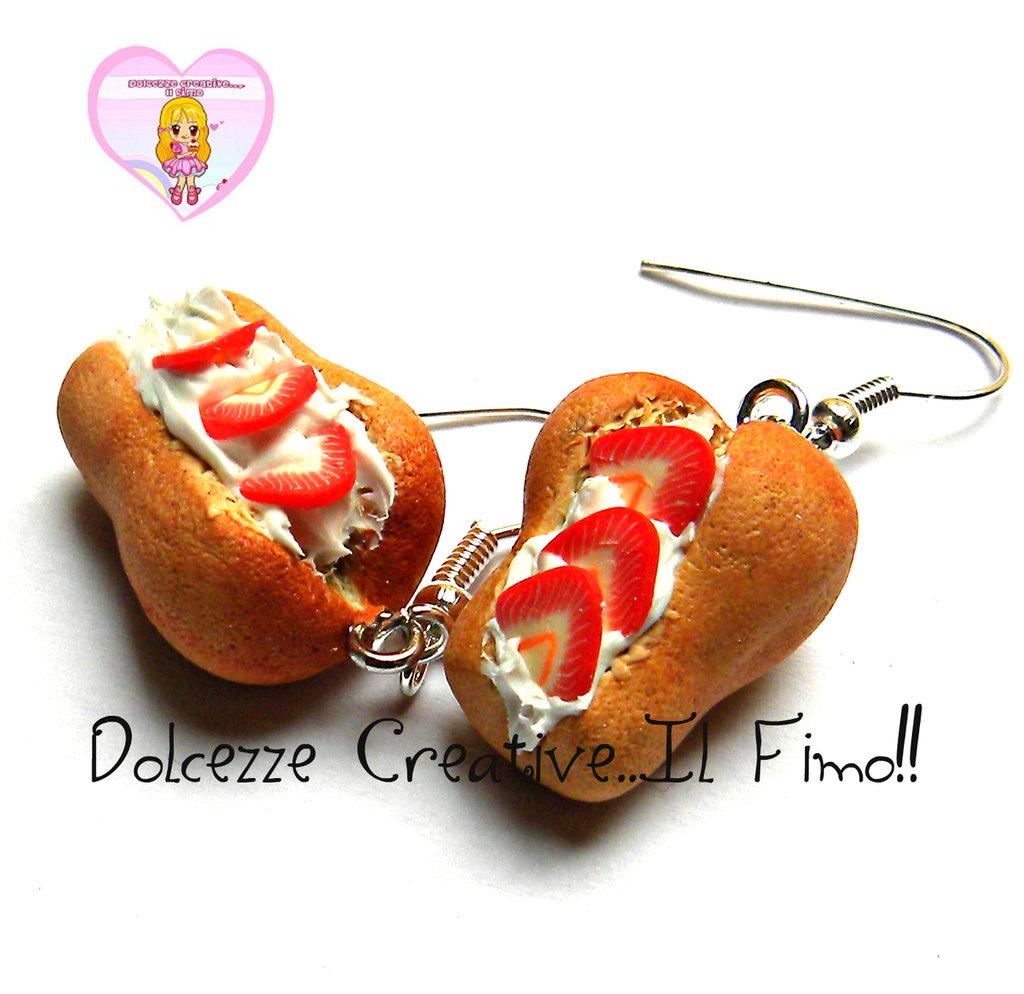Orecchini babà in fimo e cernit - piccola pasticceria - napoletana - handmade