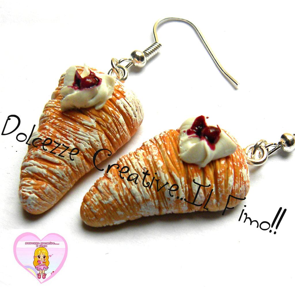Orecchini coda di aragosta - piccola pasticceria napoletana - in fimo e cernit