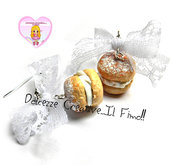 Orecchini Bignè - piccola pasticceria - miniature kawaii idea regalo