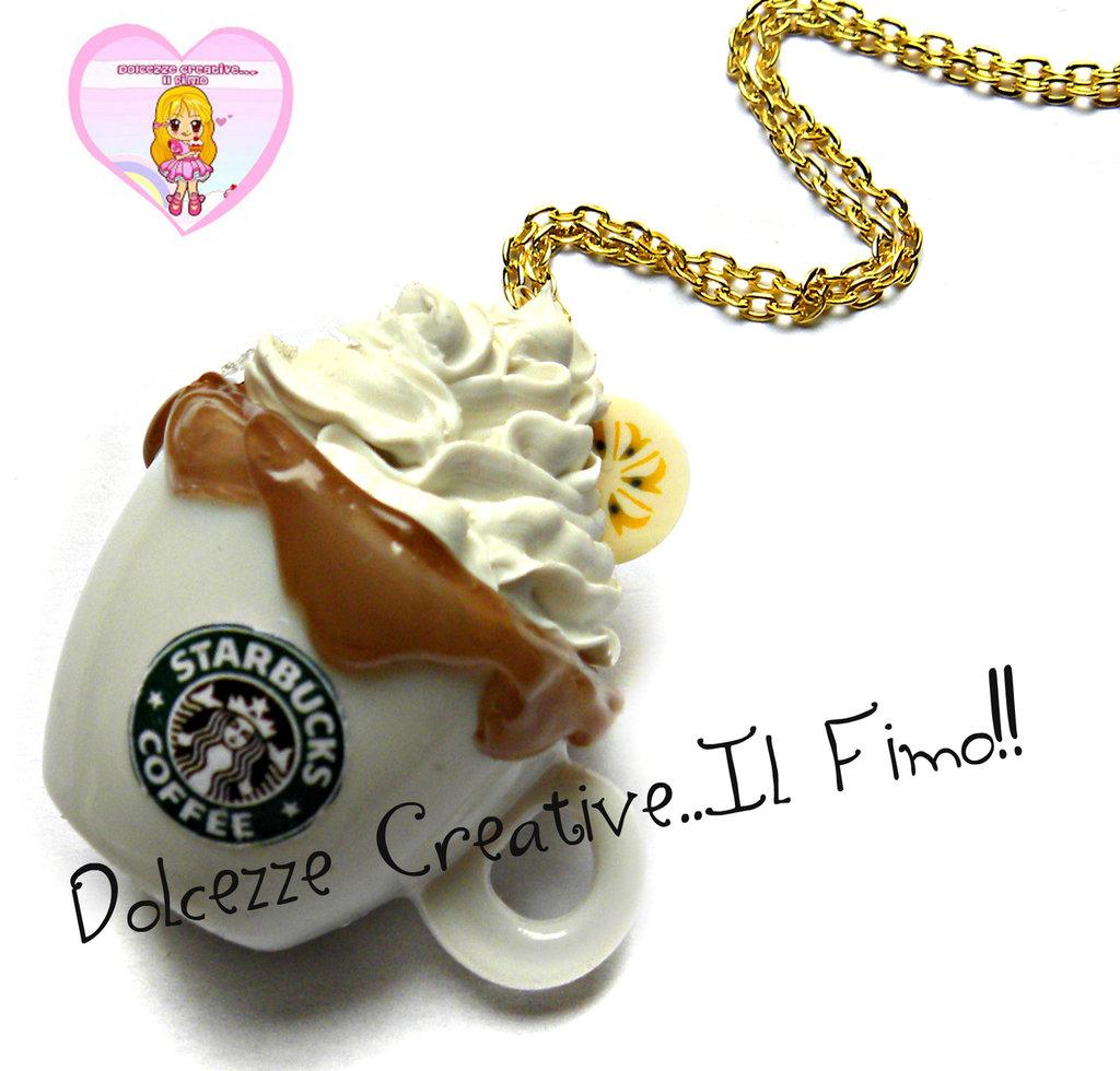 Collana tazza di cioccolata Starbucks MAXI con glassa al cioccolato e fetta di banana - miniature