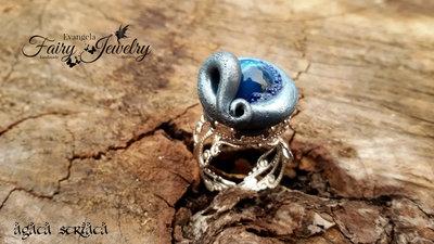 Anello agata blu striata fimo pasta polimerica regolabile filigrana ottone