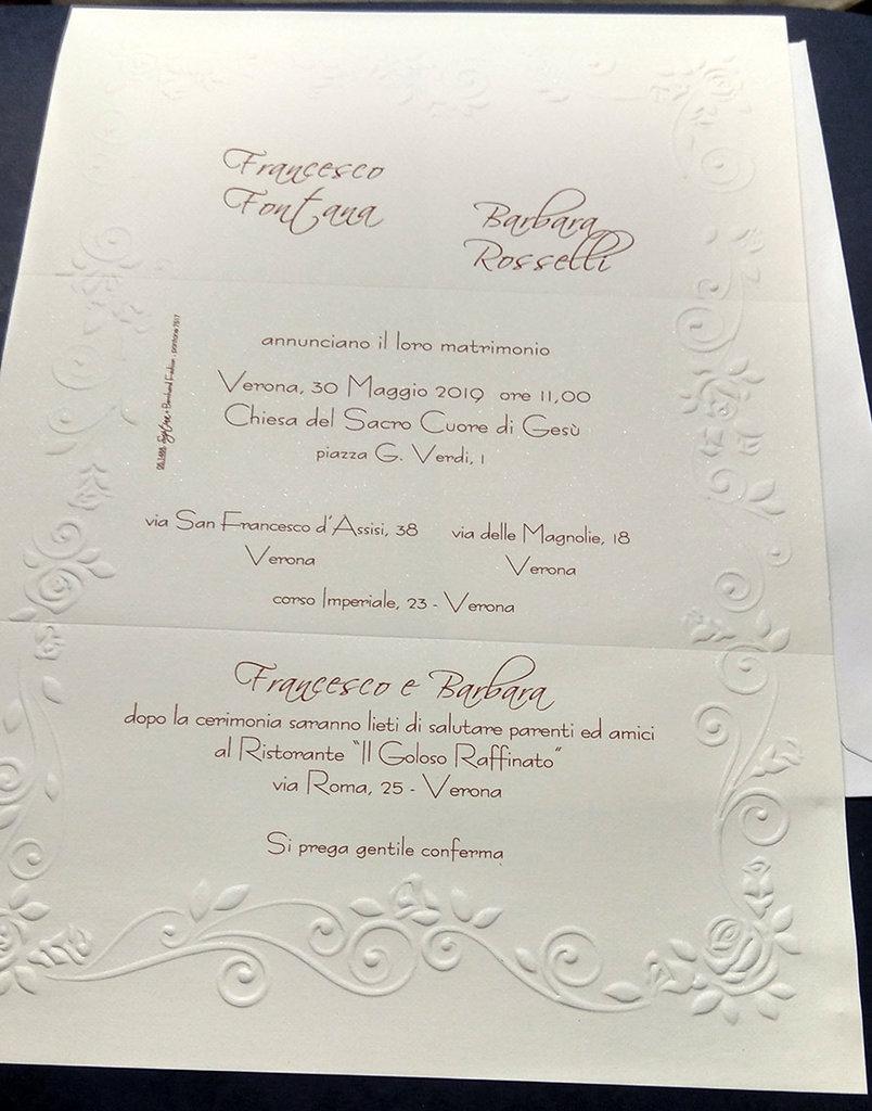 Formato Partecipazioni Matrimonio.Partecipazione Formato A4 Con Rilievo A Secco Feste Matrimonio