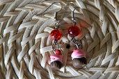 Orecchini pendenti con Perlina Rossa e Cupcakes in Fimo