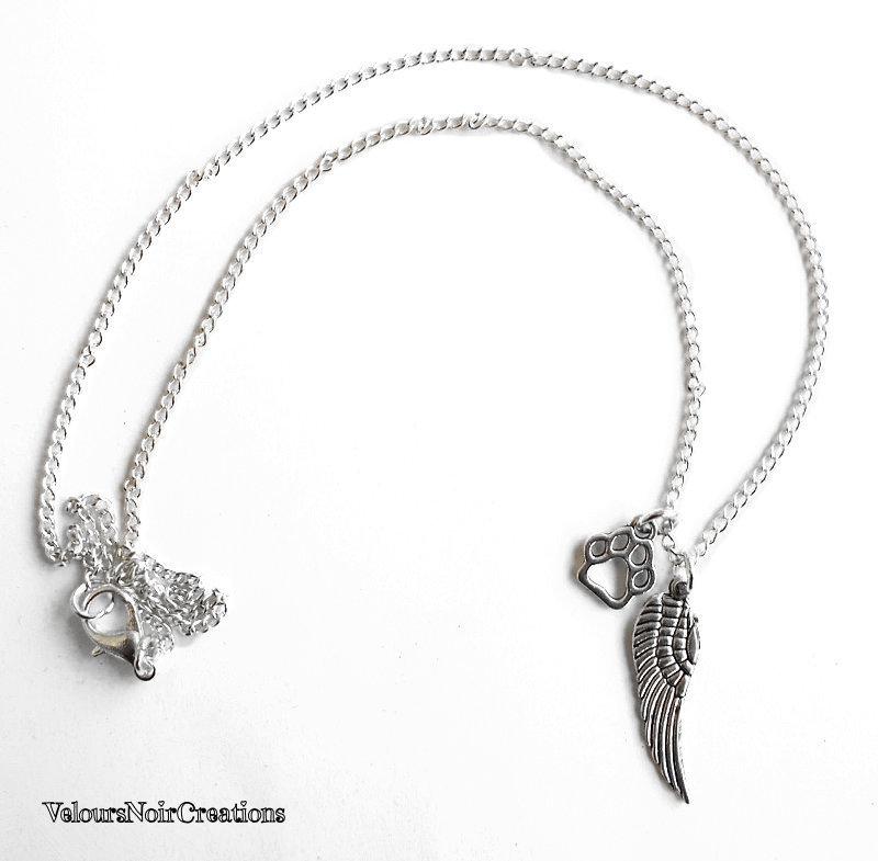 Collana ala angelo custode orma zampa cane
