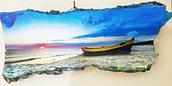 Quadro. Tramonto in riva al mare