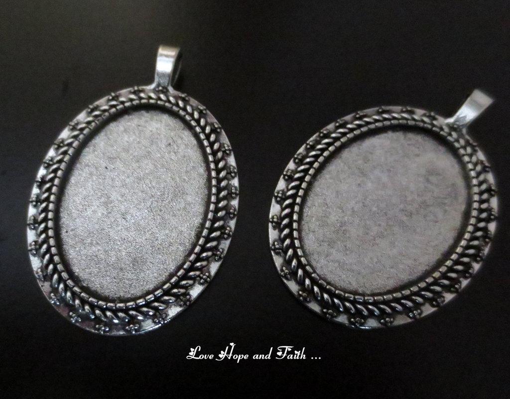 NOVITA'! Base cabochon color argento scuro (cod.5236-0)