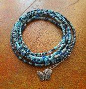 Bracciale multifilo blue, azzurro, acquamarina, perline, cristalli, charm farfalla, per lei