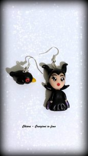 Orecchini in fimo Malefica dal film Maleficent kawaii idee regalo compleanno bomboniera