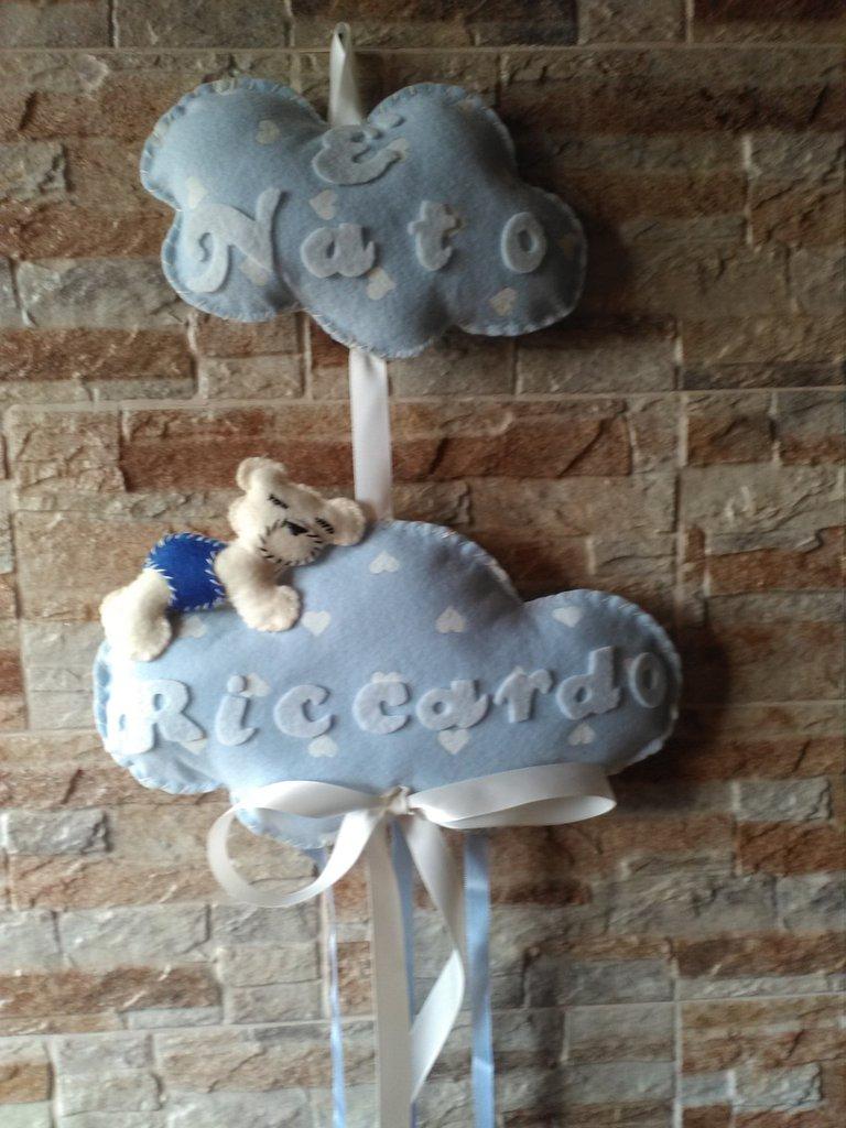 Fiocco nascita nuvola in pannolenci