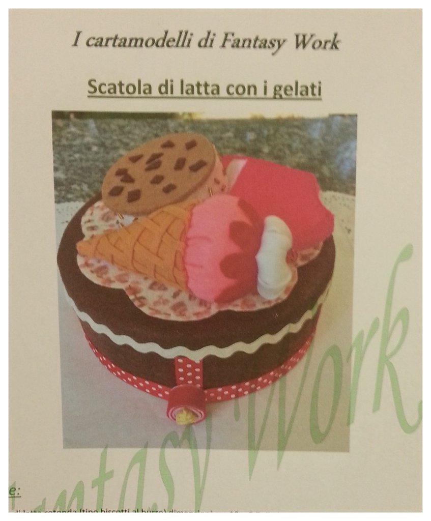 Tutorial scatola di latta rivestita in feltro con gelati di feltro - versione pdf