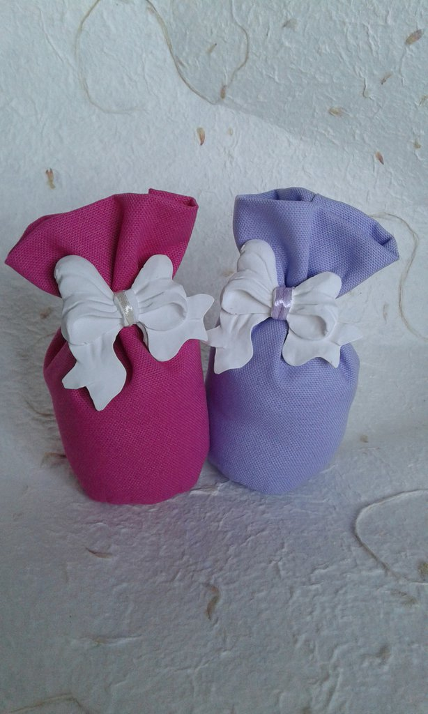 Bomboniera matrimonio cremina comunione sacchetto con gessetto profumato