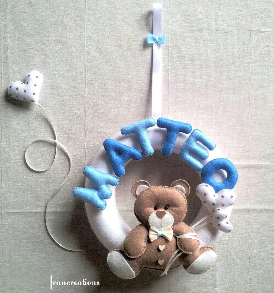 Fiocco nascita bimbo - Fiocco nascita - Decorazione cameretta - Fiocco nascita pannolenci - Ghirlanda nascita