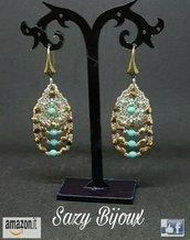 Orecchini GIPSY in tessitura di perline e cristalli bronzo e turchese