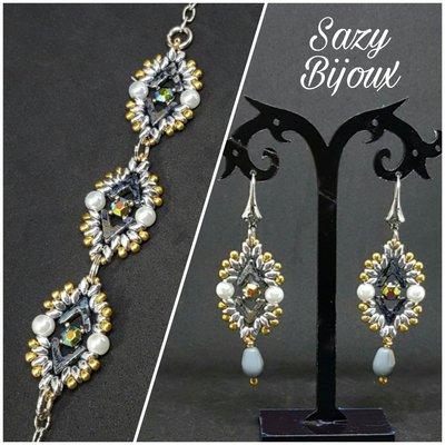 AVACOMB: Bracciale e Orecchini in tessitura di perline con Perle