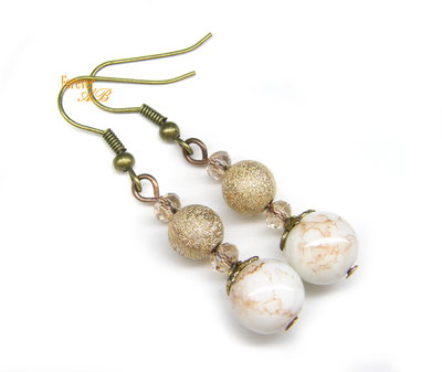 Orecchini perle 'marmorizzate'  idea regalo ragazza donna bronzo oro