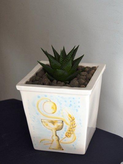 Vaso per piantina di ceramica h. 20 cm. ca.