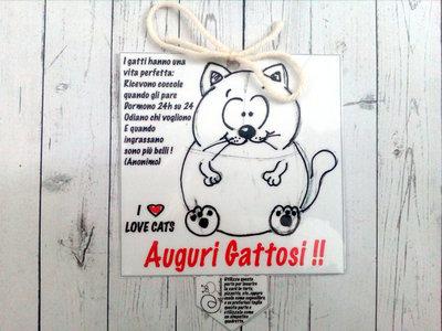 Biglietto d'auguri fatto a mano : Auguri gattosi