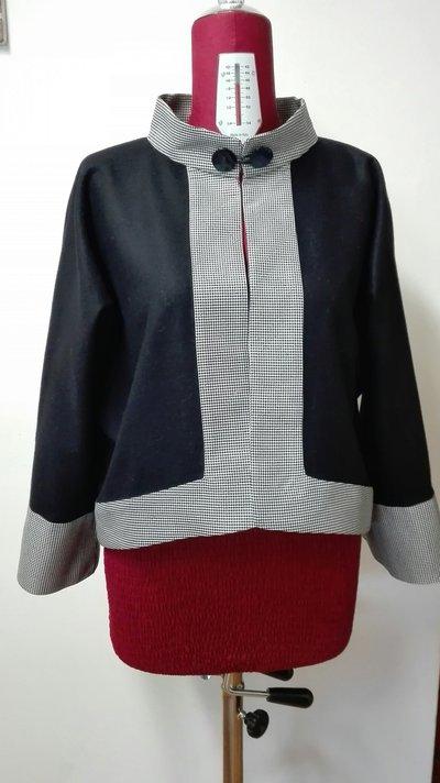 giacca in pura lana blu fatta a mano