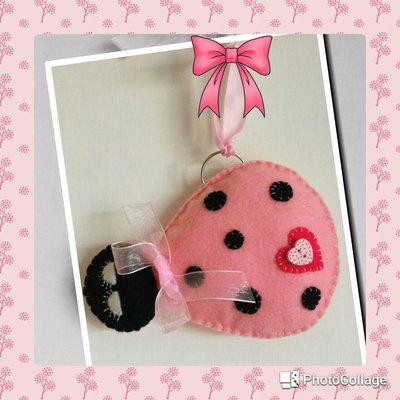 Fiocco nascita decoro culla coccinella rosa portafortuna