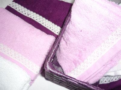 Set sei lavette con merletto e cestino colore viola