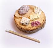 Miniatura in pasta polimerica su base in legno - Salumi e Formaggi - Decorazione