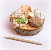 Miniatura in pasta polimerica su base in legno - Salumi e formaggi - Decorazione cucina