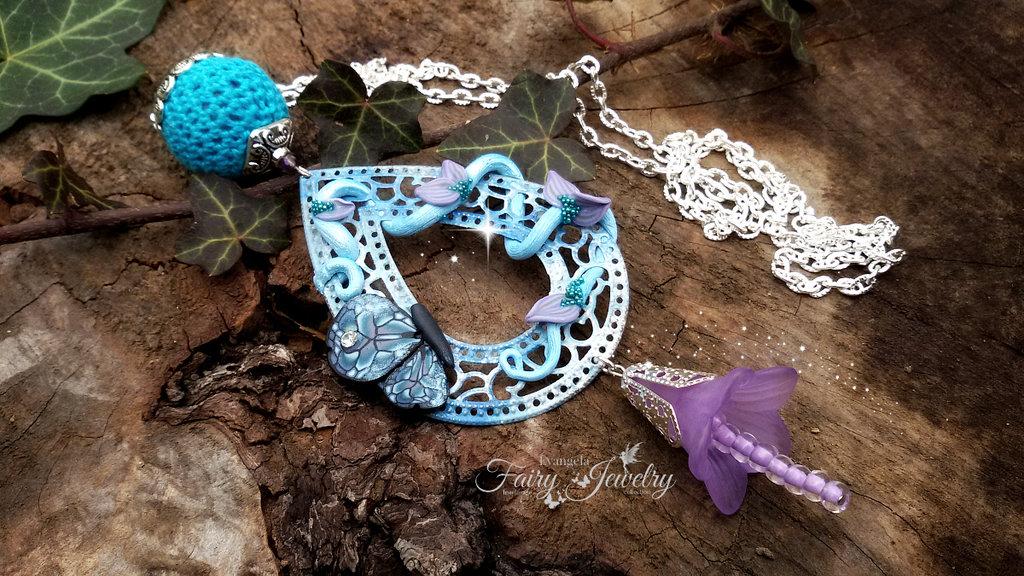 Collana filigrana farfalla fimo pasta polimerica azzurro celeste fata giardino