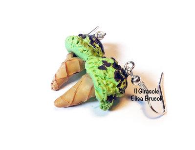 Orecchini cono gelato pistacchio e cioccolato pendenti in pasta polimerica fimo