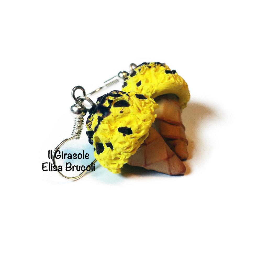 Orecchini cono gelato limone e cioccolato pendenti in pasta polimerica fimo