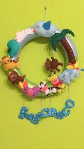 Fiocco nascita fantasia animali giungla in pannolenci