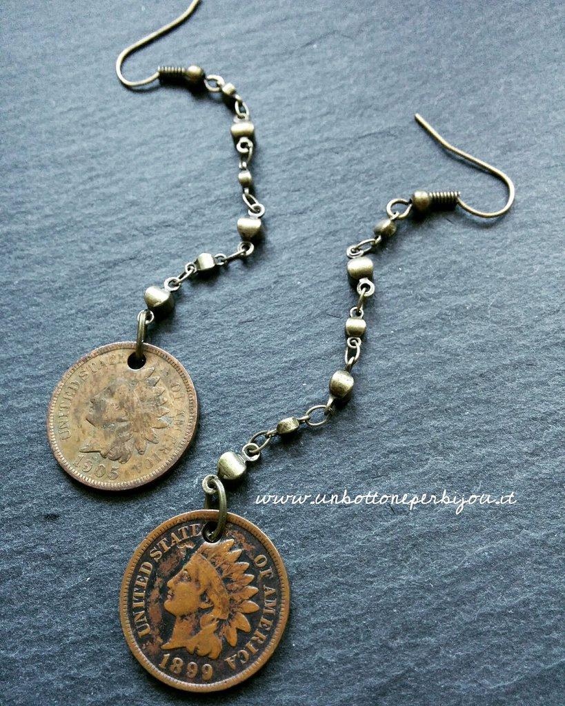 Orecchini con monete d'epoca centenarie americane fuori corso Penny testa Indiano