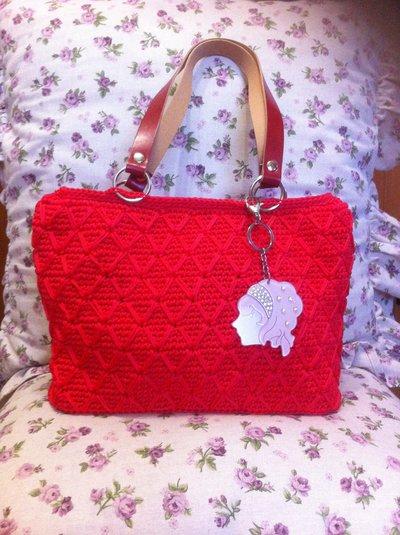 Borsa rosso corallo in cordino swan, idea regalo
