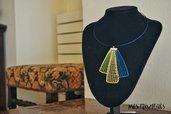 """Collana Girocollo """"Lapis Blue"""" con cristalli Swarovski realizzata al tombolo."""