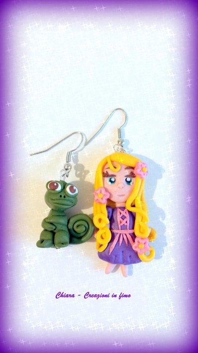 Orecchini in fimo Rapunzel kawaii idee regalo compleanno bomboniera