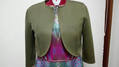 Giacca corta neoprene verde(abbinabile all'abito in neoprene) manica lunga Tg.48