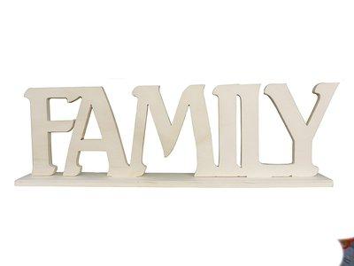 Scritta in legno Family cm L 38x 11 h spessore 8 mm con base