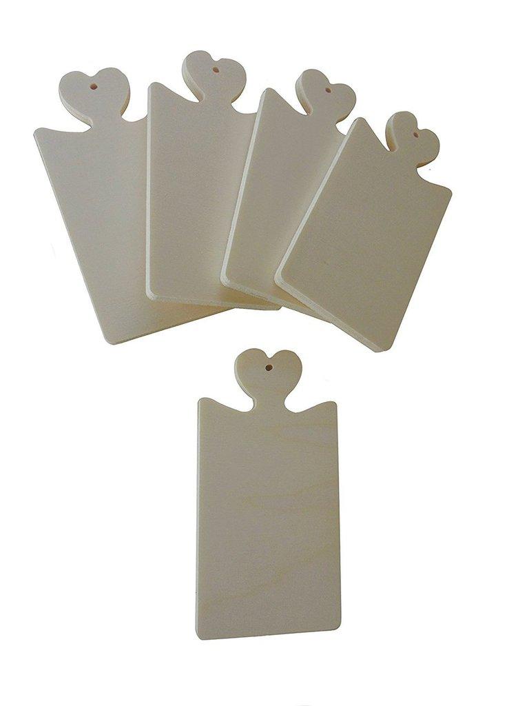 Targhetta micro in legno con cuore fai da te hobby 5 pezzi