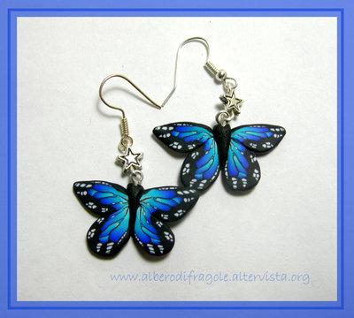 Orecchini farfalla blu
