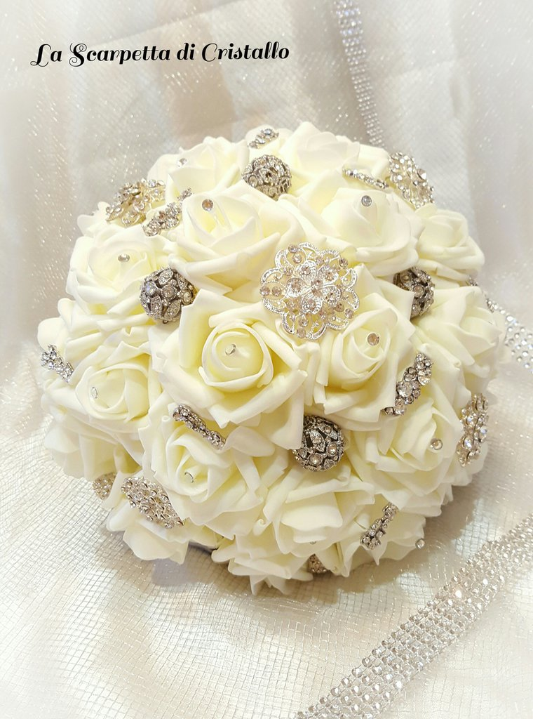 Favoloso Bouquet gioiello nozze d'argento - Feste - Matrimonio - di La  OO11