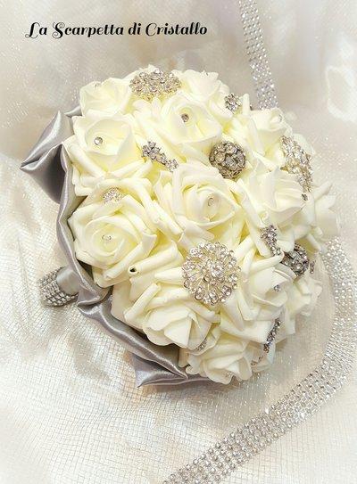 Super Bouquet gioiello nozze d'argento - Feste - Matrimonio - di La  BT14