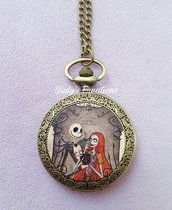 Collana orologio Jack e Sally Nightmare before Christmas tim burton film animazione Halloween re zucche love amore Jack Sleketron Skellington