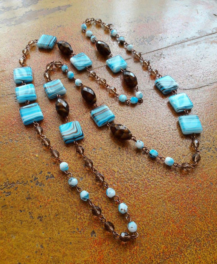 Collana lunga azzurra, celeste, topazio, marrone, rame, idea regalo per lei