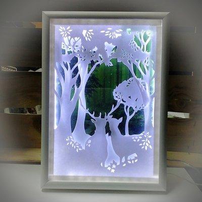 Quadro luminoso bosco incantato