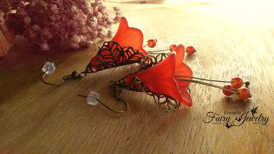 Orecchini fiori campanelle lucite filigrana bronzo