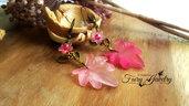 Orecchini foglie e fiori lucite bronzo rosa fucsia pendenti
