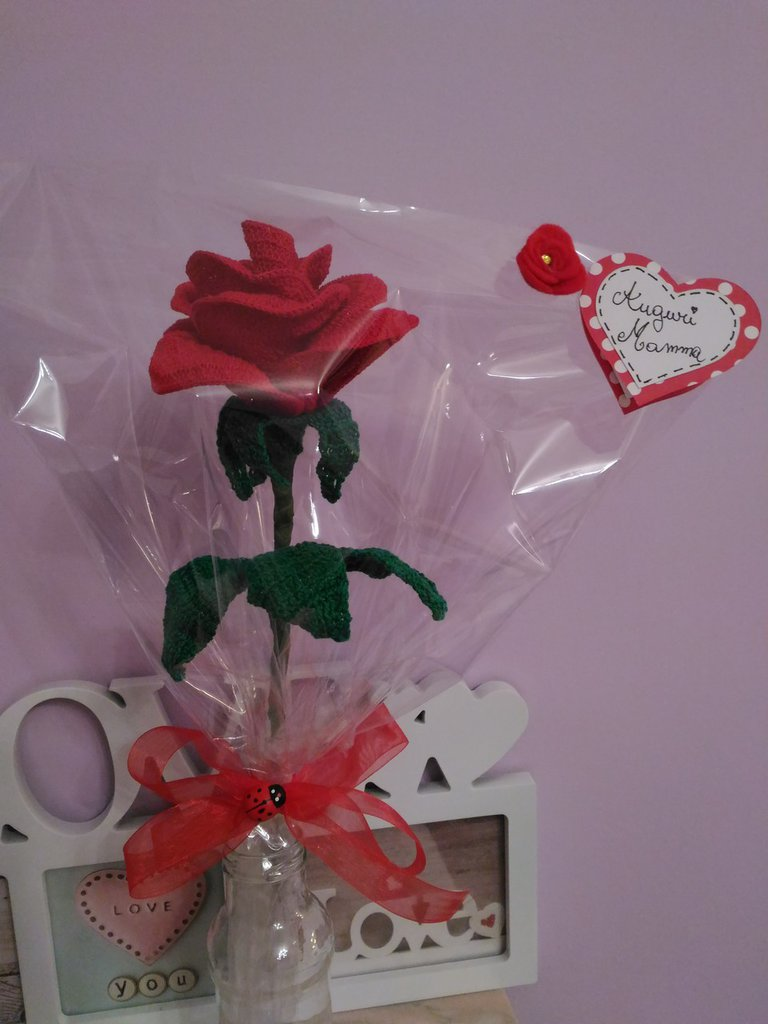 Rosa Uncinetto Fiore Rosso Festa Della Mamma Idea Regalo Feste