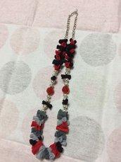 *Collana pannolenci e perle (rossa)*